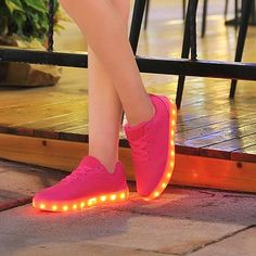 Amazon.com | NIKOO Rechargeable LED Light-Up Lace Up Flat Sneakers Flashing Sports Dancing Shoes | Fashion Sneakers