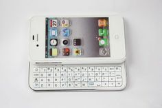 Amazon.com: FOM Ultra-thin Wireless Bluetooth 2.0 Slide-out Back Light Keyboard for iPhone4/4S-White: Cell Phones & Accessories