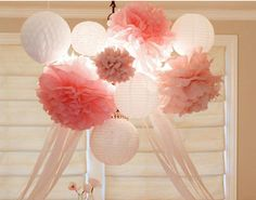 Paper lanterns and Pompoms