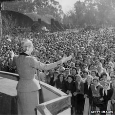 Eva Peron addressing a crowd of women workers in 1951