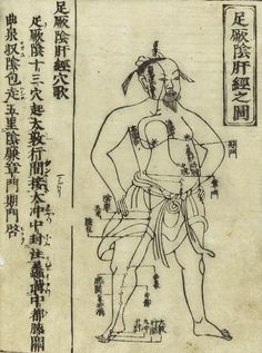 Bronze age Acupuncture [针刺] charts from Hua Shou; 'Shi si jing fa hui' (Expression of the Fourteen Meridians), Ming Dynasty [China], 1340s. [Tokyo: Suharaya Heisuke kanko, Kyoho gan, 1716 edition]