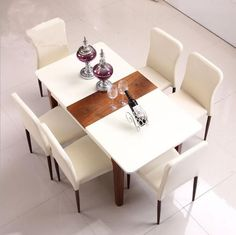 Glass table reinforced glass and wooden rectangle dinner table for 4 to 6 person dining table wood modern with 6
