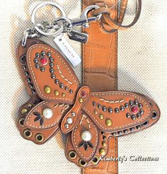 d885954c88ac COACH Large BUTTERFLY Applique Embellished Studded Keychain Bag Charm  F58996 NWT  Coach Coach Keychain
