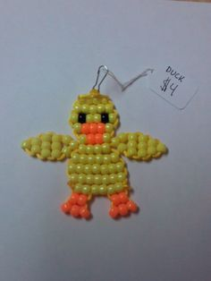 Duck Bead Pet Keychain by BeadPets on Etsy