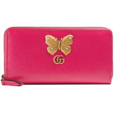 Gucci Leather Zip Around Wallet With Butterfly ($600) ❤ liked on Polyvore featuring bags, wallets, bright pink, leather wallets, pink wallet, gucci wallet, 12 card wallet and pink leather wallet