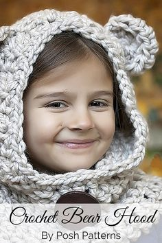 Crochet Pattern - A super cute crochet bear hood pattern for all ages! Includes direction for all sizes from baby to adult. Cozy cozy cozy!! By Posh Patterns.
