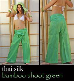 Thai silk fisherman pants. Thai silk shimmers in light...like a salamander.