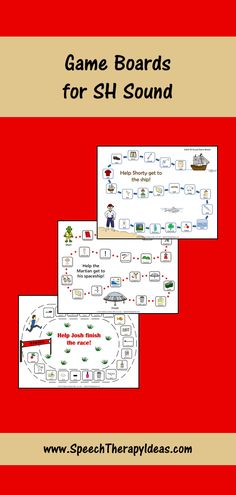 """These sound-focused game boards feature pictures and words, so they can be used with readers and non-readers alike!  With pirate, martian, and race themes, your students will be engaged and ready to practice their productions of the """"sh"""" sound in words.  There is a game board for each word position (initial, medial, and final """"sh""""). Print them out for use in your sessions or send them home for extra practice. They are available in color and black and white. Speech Therapy Games, Speech Pathology, Speech Language Pathology, Speech And Language, Articulation Activities, Speech Therapy Activities, Game Boards, Board Games, Sh Sound"""