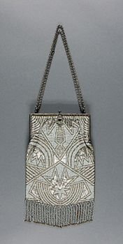 Philadelphia Museum of Art - Bag Made in France, Europe  Early 20th century  Artist/maker unknown, French  Figured silk with metallic thread, beading, metal 10 1/4 x 6 inches (26 x 15.2 cm)