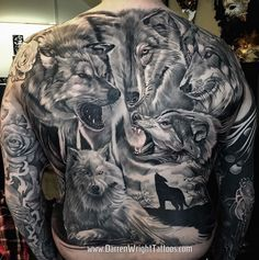 Wolves Full Back Tattoo By Darren Wright Wolf Tattoos Men Wolf Tattoo Sleeve Back Tattoo