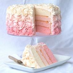 Ombré cake ~ add some flavoring to the pink & white layers and a big scoop of chocolate ice cream for a neapolitan party