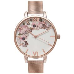 Olivia Burton OB16WG18 Women's Winter Garden Mesh Bracelet Strap Watch (€88) ❤ liked on Polyvore featuring jewelry, watches, accessories, bracelets, stainless steel jewelry, roman numeral jewelry, floral watches, roman numeral watches and olivia burton watches