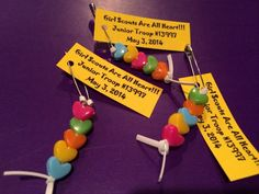 """Girl Scout SWAPS we made for todays's camping event. """"Girl Scouts Are All Heart."""""""