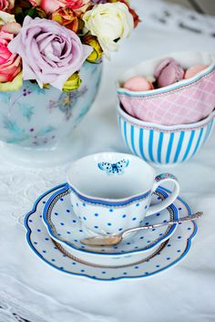 Tea party dots butterfly with love by Lisbeth Dahl Copenhagen Spring/Summer 13. #LisbethDahlCph #Porcelain #Tea #Party
