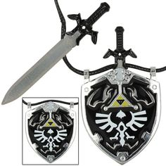 Collectibles Careful Dark Hylian Shield And Master Sword From The Legend Of Zelda Necklace Brand New