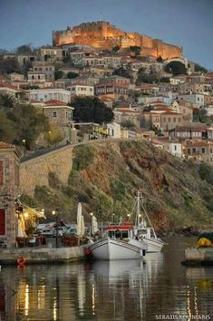 Molyvos town of Lesvos Island of Hellas Places Around The World, Travel Around The World, Around The Worlds, Cool Places To Visit, Places To Travel, Places To Go, Travel Destinations, Beautiful Islands, Beautiful Places