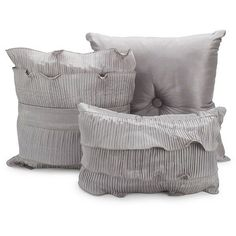 Pacific Coast Textiles Anastacia Faux Dupioni Silk Pillows - Set of 3 ($13) ❤ liked on Polyvore featuring #home, #home decor, throw pillows, gray home decor, grey accent pillows, gray throw pillows, grey home decor and grey throw pillows