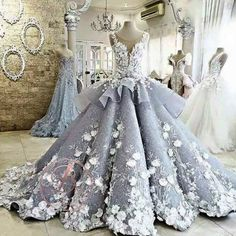 Gorgeous Handmade Flowers Lace Appliques Silver Princess Ball Gown Prom Gown Dresses,PD00060