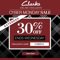 We've extended our #Cybermonday #sale, but only through Wednesday! #clarks | #shoes | #boots | #deals