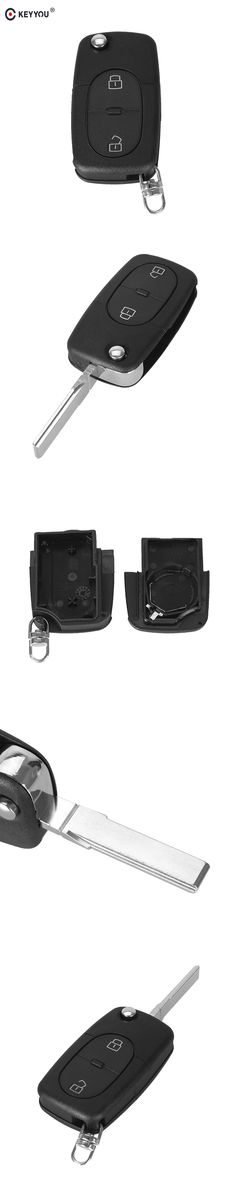 KEYYOU 2 BUTTON FOLDING FLIP REMOTE KEY BLANK FOB CASE SHELL PAD FOR FOR AUDI A2 A3 A4 A6 CR2032