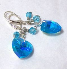 Turquoise Crystal Heart Earrings by RoxysRox for $16.00