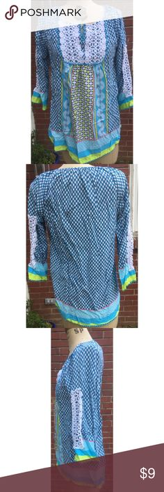 """Crown & Ivy Multi Colored Tunic Shirt S Cute Crown & Ivy Shirt, S. Laying flat it measures approximately: shoulder to bottom 25"""", armpit to armpit 17"""", armpit to cuff 13"""". Nice overall condition. Thanks! Crown & Ivy Tops Tunics"""