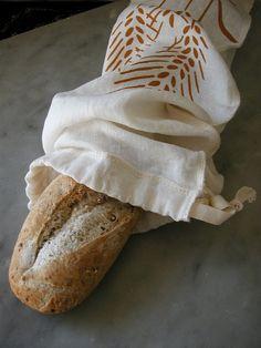 Organic Linen Drawstring Baguette Bread Bag- Hand Screen Printed with Wheat Design - Cloth Bread Bag