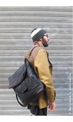 Sac à dos homme Backpack cuir noir vintage #matieresareflexion #backpack #lookhomme #ootd