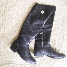 Michael by Michael Kors Black Boots Size 7 Michael by Michael Kors Boots Size 7. Some signs of wearing (see photos) stains on the front and creases in the leather. Feel free to ask questions! MICHAEL Michael Kors Shoes Combat & Moto Boots