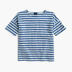 "Saint James has been spinning some of the world's finest knits out of its Normandy-based factory since 1889 and has become famous for its Breton shirt, a nautical-inspired style featuring classic stripes. Designed exclusively for us, this airy cotton version features a roomy body and slimmer sleeves. <a href='https://hello.jcrew.com/2015-04-apr/studio-tour-saint-james'><u>Tour the Saint James factory.</u></a> <ul><li>Loose fit.</li><li>Body length: S 23 4/5"", M 24 2/5"", L…"