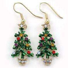 Happy Colorful Christmas Tree Hoop Dangle Earrings