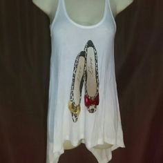 "SUPER CUTE, THE CLASSIC, TANK TOP-SIZE S-NWT -""The Classic"" Tank Top -Size Small -Brand New with Tags -SUPER CUTE!!!!! -Asymmetrical Hem -Two cute shoes in front with gold and red sequined bows and the word love in each shoe -100% Rayon -Made in USA The Classic Tops Tank Tops"