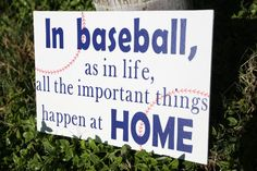 "This listing is for: 18"" x 12"" Homemade Baseball Wood Plaque/Sign for your home décor. Saying on the plaque/sign - In baseball as in life all important things happen at home. **About this Product** Handmade baseball plaque/sign for you to decorate your home, you child's room, and/or give as a gift. **Product Details** Handmade Plaque/Sign 18"" by 12"" piece of wood White paint Blue Vinyl Letter Red baseball stitching lines Sprayed with Clear Sealant Wording and Coloring..."