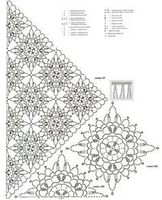 Crochet Shawl Diagram, Crochet Motif Patterns, Granny Square Crochet Pattern, Freeform Crochet, Crochet Chart, Crochet Squares, Crochet Tablecloth, Crochet Doilies, Crochet Lace