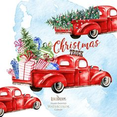 Super Ideas red truck with tree etsy Christmas Truck, Christmas Cards To Make, Christmas Signs, Rustic Christmas, Christmas Art, Christmas Projects, Christmas Ideas, Christmas 2019, Vintage Christmas