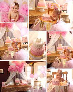 First Birthday Party Pink & Gold Birthday Baby Girl Birthday Princess Theme Birthday, Ballerina Birthday Parties, Princess Tea Party, Girl Birthday Themes, Baby Girl Birthday, Tea Party Birthday, First Birthday Parties, First Birthdays, 2nd Birthday