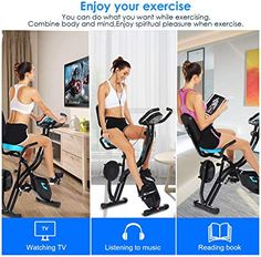 Zafuar Folding Exercise Bike,Indoor Stationary Cycle Bike with Adjustable Magnetic Resistance&APP Program&Digital Monitor for Home Total Body Workout Folding Exercise Bike, Best Exercise Bike, Reading Music, Listening To Music, Indoor Cycling, Total Body, Get In Shape, At Home Workouts, Music