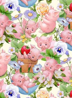 This Little Pig - Piglets & Posies - Cream
