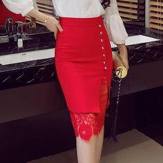 97585c5ab Women's Skirt High Waist Pencil Skirt Summer 2018 Fashion Women Knee Length  Lace Patchwork Lady Formal Work Skirts Plus Size