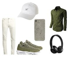 """Kaki"" by anissaa-94 on Polyvore featuring mode, LE3NO, Yves Saint Laurent, NIKE, ROXXLYN, Beats by Dr. Dre et HUF"