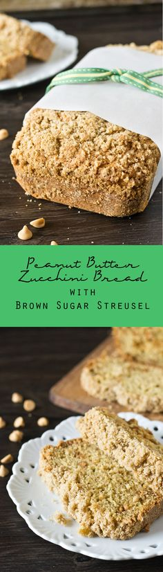 Peanut Butter Zucchini Bread with Brown Sugar Streusel. You'd never guess this… Peanut Butter Zucchini Bread with Brown Sugar Streusel. You'd never guess this bread has veggies inside! Zucchini Bread Recipes, Quick Bread Recipes, Muffin Recipes, Sweet Recipes, Baking Recipes, Zucchini Desserts, Baking Breads, Top Recipes, Peanut Butter