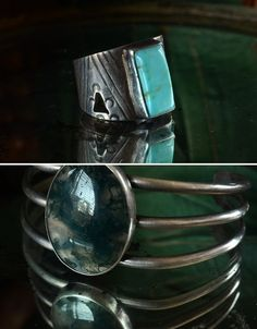 Vintage American Indian Turquoise Ring, Sterling, $115  Vintage American Indian Moss Agate Cuff, Sterling, $250 Erie basin Antiques