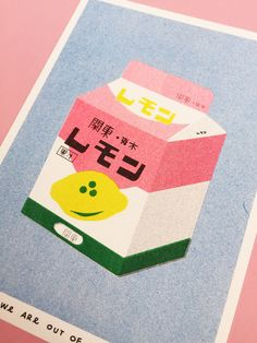 A risograph print of a box of lemon milk | Etsy