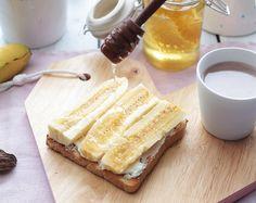 Bananen-Toast mit Honig und Schokolade