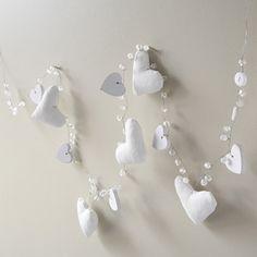 White Fabric Padded Heart Garland