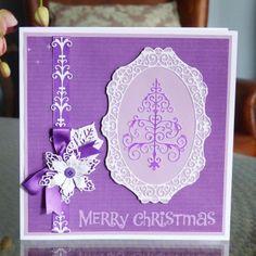 Sparkle (D442), Krystal Border (D410), Lavish Poinsettia (D452) www.tatteredlace.co.uk Christmas Cards, Merry Christmas, Tattered Lace Cards, Accordion Fold, Poinsettia, Christmas Nativity, Krystal, Projects To Try, Card Making
