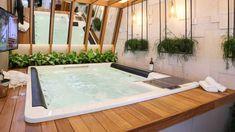 Spas, Jacuzzi Room, Interior Minimalista, Deck, Yard, Interior Design, House, Container, Home Decor