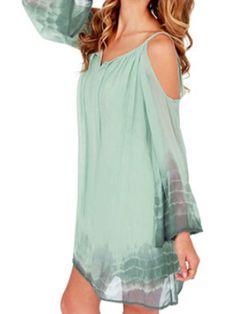 Choies Women's Chiffon Light Green Summer Tie V-neck Spaghetti Strap Dress L at Amazon Women's Clothing store: