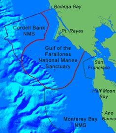 Gulf of the Farallones National Marine Sanctuary off the coast of San Francisco. Map courtesy of www.farallones.noaa.gov