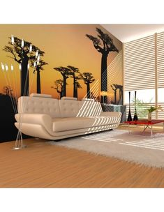 """Availability: on orderResistant, water-rejecting and scratch-proof fleece wallpaper """"African baobab trees"""". Wallpaper """"African baobab trees"""" with the inspiring motive will be an effective eye-catch for each interior. 3d Wallpaper Mural, Tree Wall Murals, Baobab Tree, Decoration Design, Vintage Design, Porch Swing, Vibrant Colors, Outdoor Decor, Modern"""
